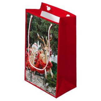 Santa y reno bolsa de regalo pequeña
