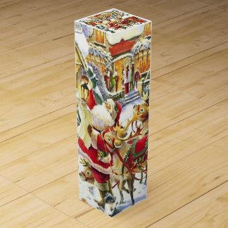 Santa y reno caja de regalo para vino