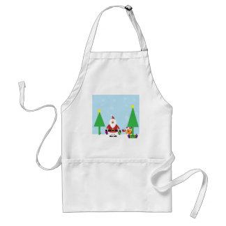 Santa y reno divertidos delantal