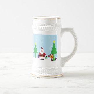 Santa y reno divertidos jarra de cerveza