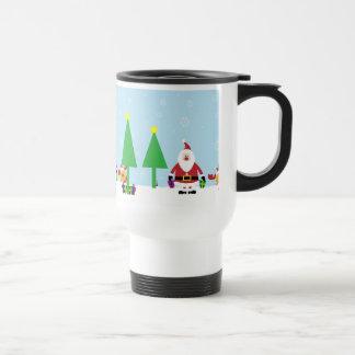 Santa y reno divertidos taza de viaje de acero inoxidable