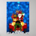 Santa y reno en coche antiguo rojo con los regalos posters