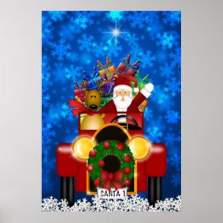 Santa y reno en coche antiguo rojo con los regalos póster