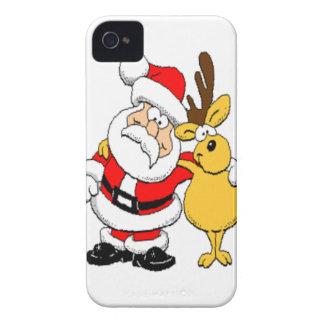 Santa y reno Case-Mate iPhone 4 cárcasa