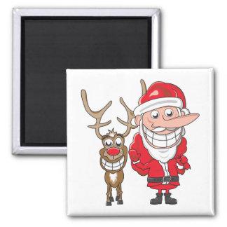 Santa y reno imán cuadrado