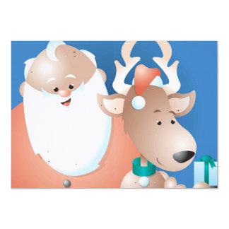 """Santa y reno invitación 5"""" x 7"""""""