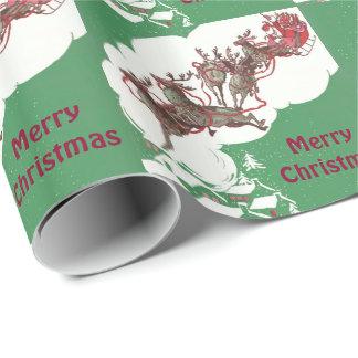 Santa y reno papel de regalo