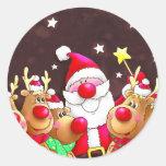 Santa y reno pegatina redonda