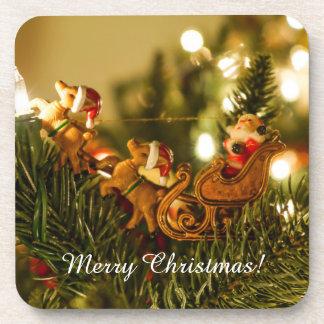 Santa y reno posavasos