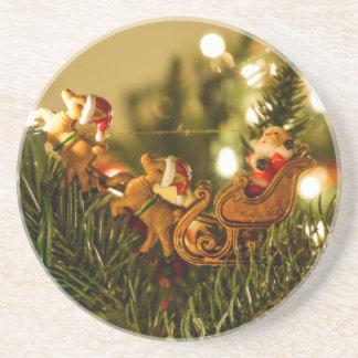 Santa y reno posavasos personalizados