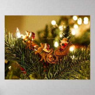 Santa y reno póster