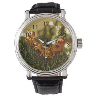 Santa y reno reloj de mano