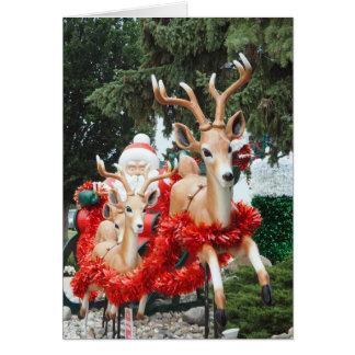 Santa y reno tarjeta de felicitación