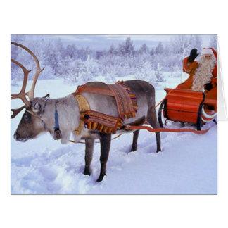 Santa y reno tarjeta de felicitación grande