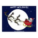 Santa y reno tarjetas postales