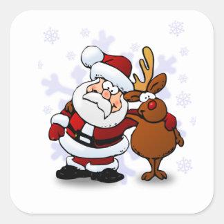 Santa y renos pegatina cuadrada