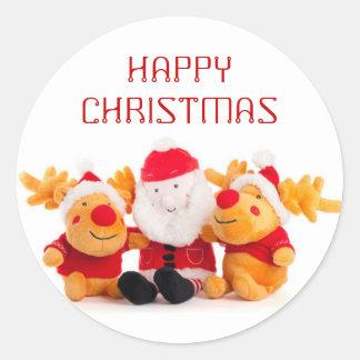 Santa y renos pegatina redonda