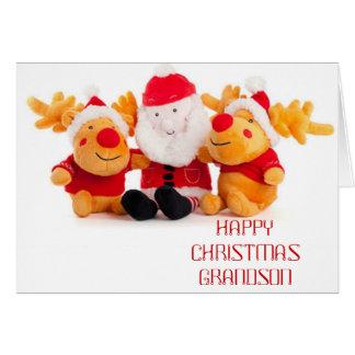 Santa y renos tarjeta de felicitación