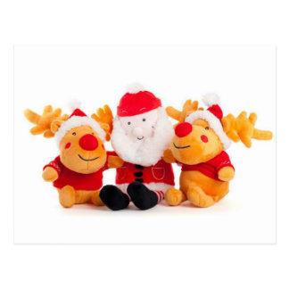 Santa y renos tarjeta postal