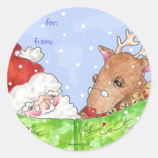 Santa y Rudolf con la lista Pegatina Redonda