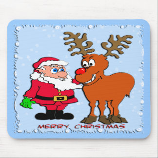 Santa y Rudolph Alfombrilla De Ratón
