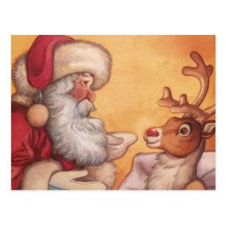 Santa y Rudolph antes del navidad Postales
