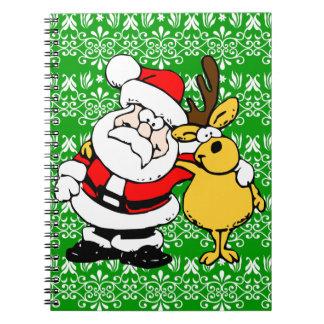 Santa y Rudolph en fondo verde Libreta