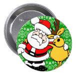 Santa y Rudolph en fondo verde Pin