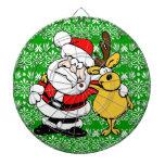 Santa y Rudolph en fondo verde Tablero Dardos
