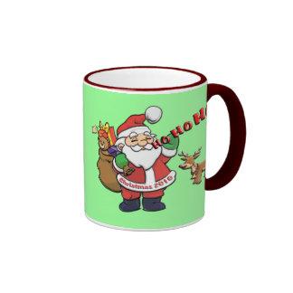 Santa y Rudolph HO-HO-HO Tazas De Café
