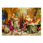 Santa y señora Claus difícilmente en el trabajo en Tarjetas