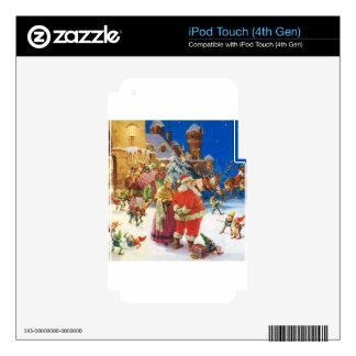 Santa y señora Claus en el Polo Norte, Nochebuena iPod Touch 4G Calcomanía
