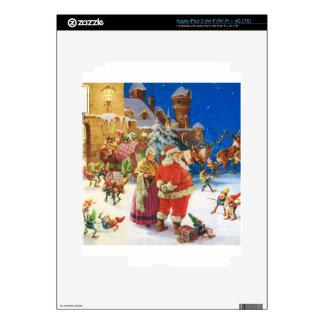 Santa y señora Claus en el Polo Norte, Nochebuena Pegatina Skin Para iPad 3