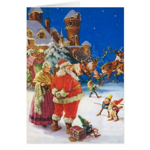 Santa y señora Claus en el Polo Norte Felicitaciones