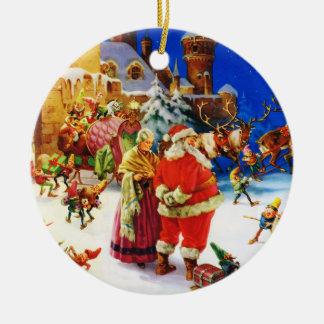 Santa y señora Claus en la Nochebuena de Polo Adorno Navideño Redondo De Cerámica