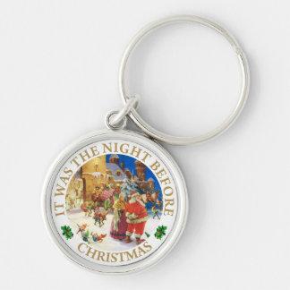 Santa y señora, Claus en la Nochebuena de Polo Nor Llavero Redondo Plateado