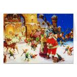 Santa y señora Claus en la Nochebuena de Polo Nort Felicitacion