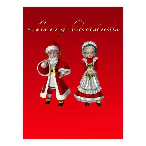 Santa y señora Claus Postcard Tarjeta Postal