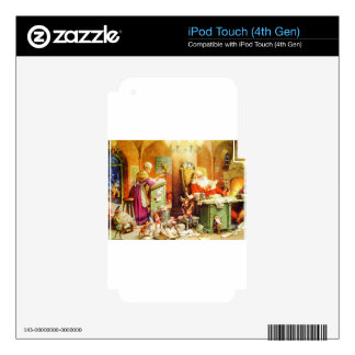 Santa y señora Claus Reading Mail en el Polo Norte Calcomanías Para iPod Touch 4G