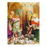 Santa y señora Claus y los duendes en el Polo Nort Tarjeta Postal