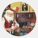 Santa y su Boston Terrier Pegatina Redonda