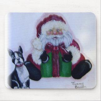 Santa y su Boston Terrier Alfombrillas De Ratones