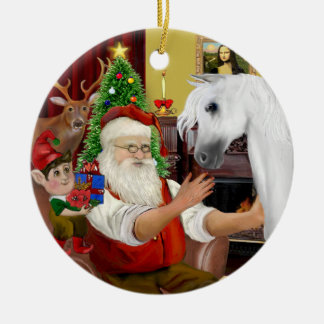 Santa y su caballo árabe blanco adorno redondo de cerámica