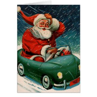 Santa y su coche eléctrico felicitacion