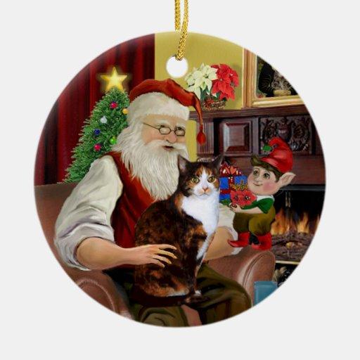 Santa y su gato de calicó (pelo de Amer.Short) Ornamento Para Reyes Magos