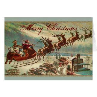 Santa y su navidad del trineo del reno tarjeta de felicitación