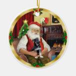 Santa y su perrito del pastor alemán adornos de navidad