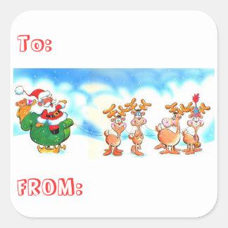 ¿Santa y su reno? Navidad de los pegatinas Pegatina Cuadrada
