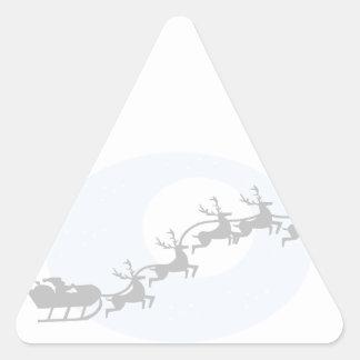 Santa y su reno pegatina triangular