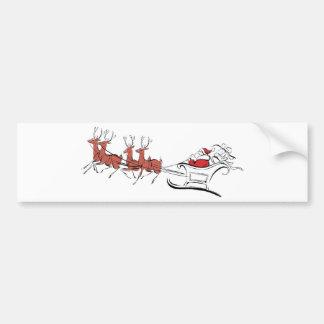 Santa y su trineo pegatina de parachoque